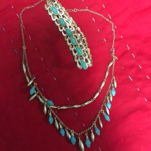 Gold & Turquoise Bracelet & Necklace